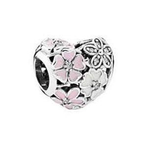 Pandora floral heart with cz